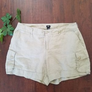 Mossimo Women's Khaki Linen Cargo Pocket Shorts